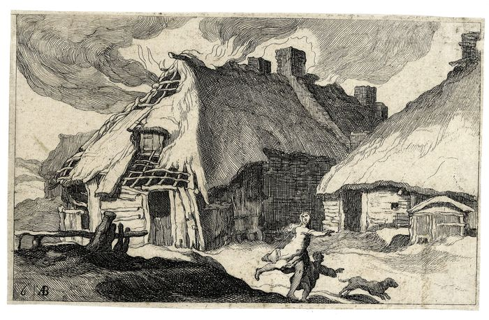 "Frederick Bloemaert (c.1616-1690), after Abraham Bloemaert (1566–1651) - Plate 6 of ""Burning houses small  landscape"" series"