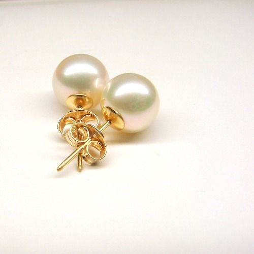 18 kt. Yellow gold - Earrings - 5.00 ct Pearls Akoya 7.3 mm