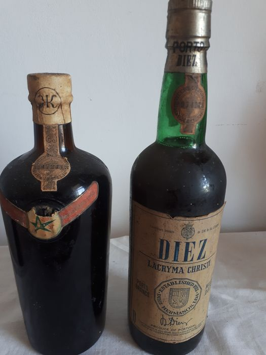 """Mixed lot -  Kokpe for the EXPO at Brussels 1958 & Diez """"Lacryma Christi"""" Branco (White) - 2 Bottles (0.75L)"""