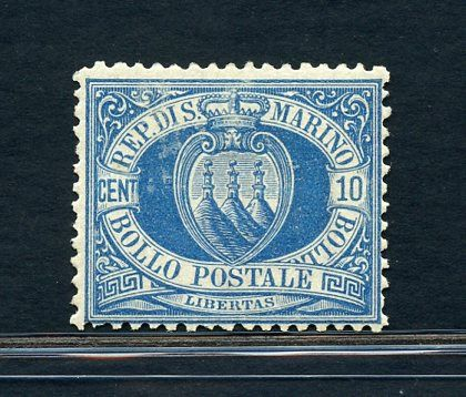 San Marino 1877 - 10 c. light blue - Sassone N. 3A