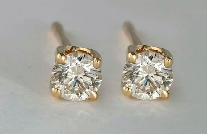 18 kt. Yellow gold - Earrings - 0.40 ct Diamond