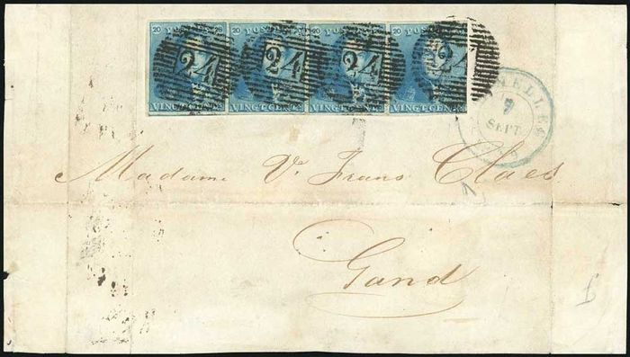 Belgium 1849 - Leopold I - Epaulette 2 in a wonderful strip of four on a document -Certificate Kaiser + Simons - OBP / COB 2