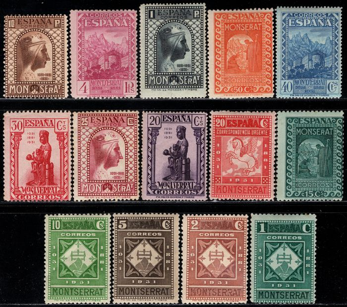 Spain 1931 - Complete set. 9th centennial of the Foundation of the Monastery of Montserrat - Edifil 636/649