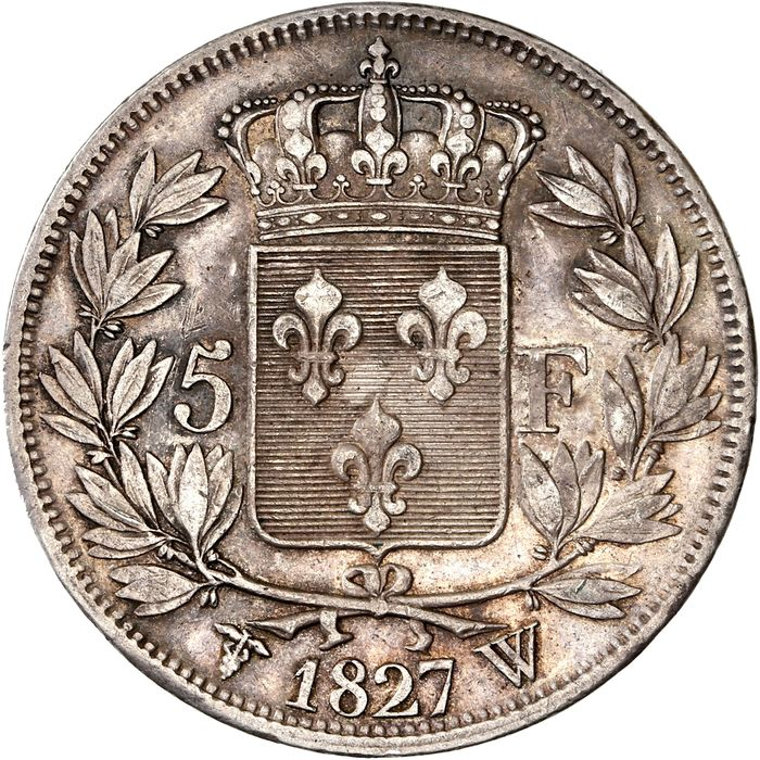France - Charles X - 5 Francs 1827-W (Lille) - Silver