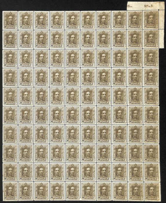 Spanien 1922 - 1922.Alfonso XIII. Vaquer. Complete sheetlet. Value 30 cts chestnut brown - Edifil 318(100)