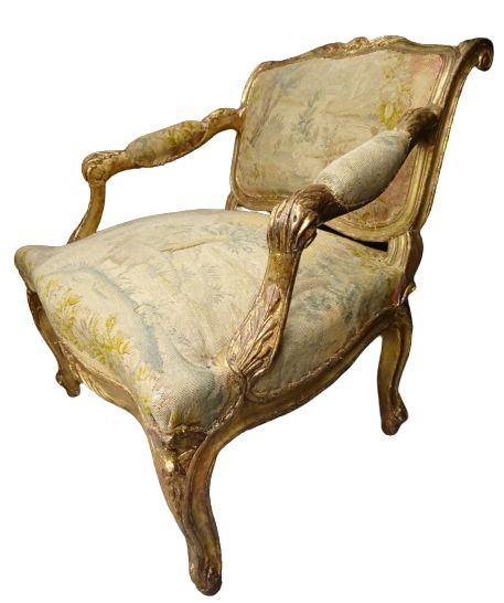 Armchair - Louis XV - Gilt, Textiles, Wood, Embroidery - Circa 1800