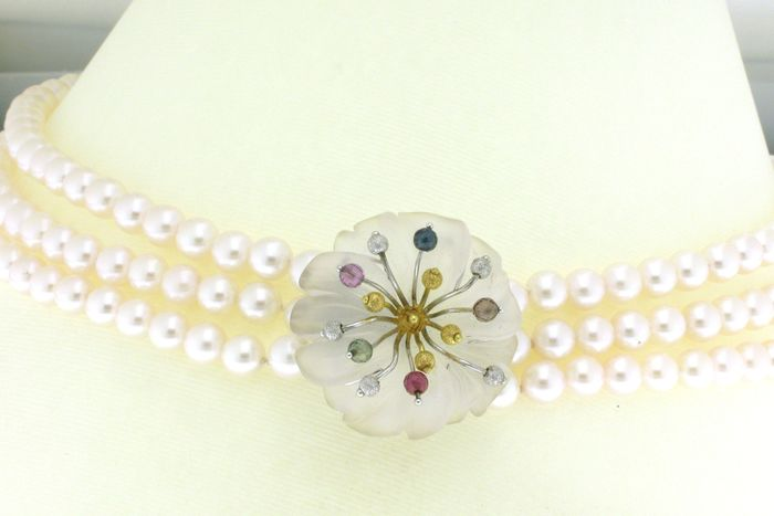 18 kt. Akoya pearls, White gold, Yellow gold - Necklace Akoya pearls, mm. 6-6.5, natural sapphires in various colors - Sapphires