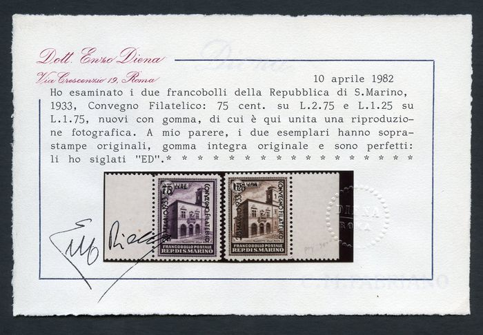 San Marino 1932 - Philatelic conference - Sassone NN. 176/179