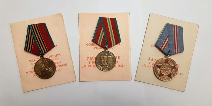 USSR Russia - Army/Infantry - Award, Badge, Medal, Three Soviet military medals 40 years 50 years and 70 years of the Armed Forces of the USSR with