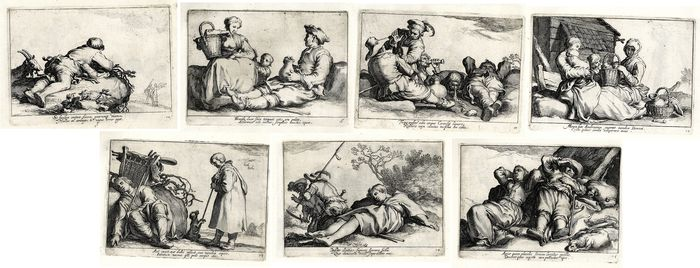 Cornelis Bloemaert (1603-c.1684), after Abraham Bloemaert (1566 - 1651) - 7 Prints from Otia delectant (nice to do nothing) series