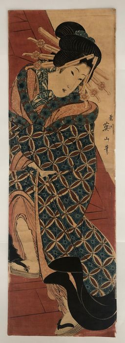 Original woodblock vertical ôban diptych - Kikukawa Eizan (1787-1867) - Courtesan climbing stairs - Japan - ca 1815-20