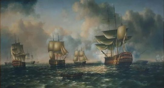 """Decorative Contemporary Marine Painting, """"Warships coming to anchor"""" - Acrylic on Canvas - Second half 20th century"""