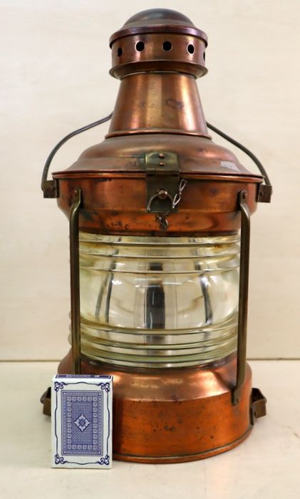 All round 360° navigation lamp - Copper, Glass - 19th century