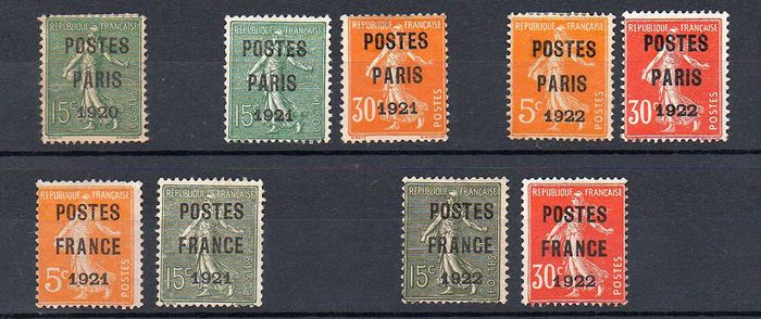 """Frankreich 1920/1922 - Lot of pre-cancelled """"Postes Paris"""" and """"Postes France"""" stamps, signed Calves, with certificate. - Yvert n°25,28,29,30,32,33,34,37,38"""
