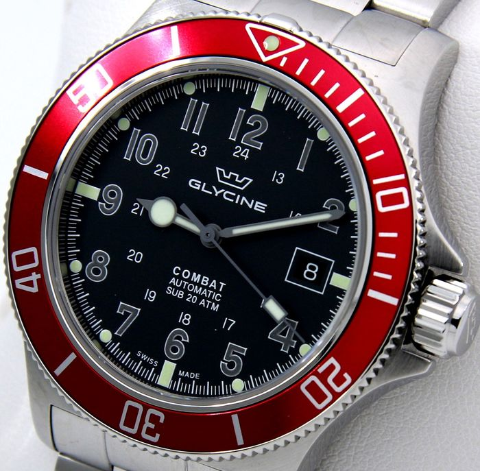 "Glycine - ""NO RESERVE PRICE"" Combat Sub 200M Automatic ""Red Tone"" - SWISS MADE  - GL0078 - Uomo - 2011-presente"