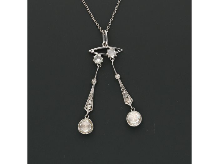 14 kt. White gold - Necklace with pendant Diamond