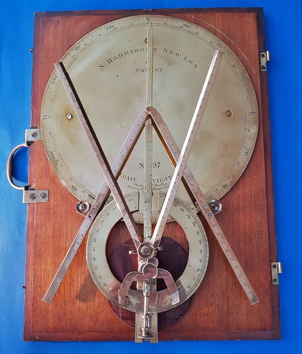 Norwood Harrison's New Era Patent Coast Navigation Instrument - Brass, Copper, Mahogany - Late 19th century