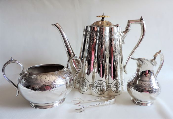Antique Victorian Silver Plate Coffee Set (4) - Victorian