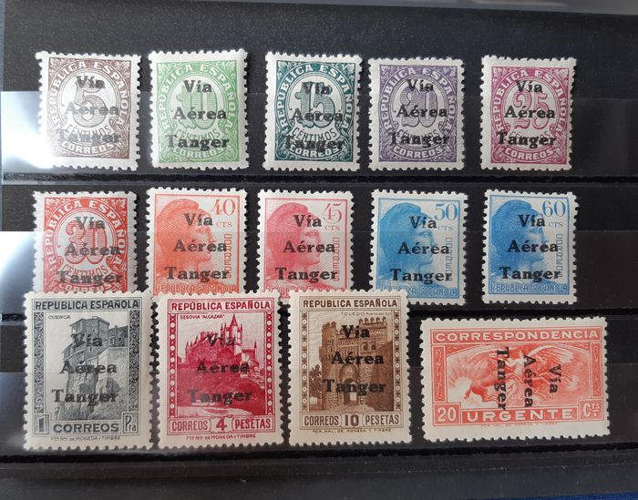 Tanger 1938 - Enabled (overprinted) stamps from Spain. Complete set. - Edifil 128/141