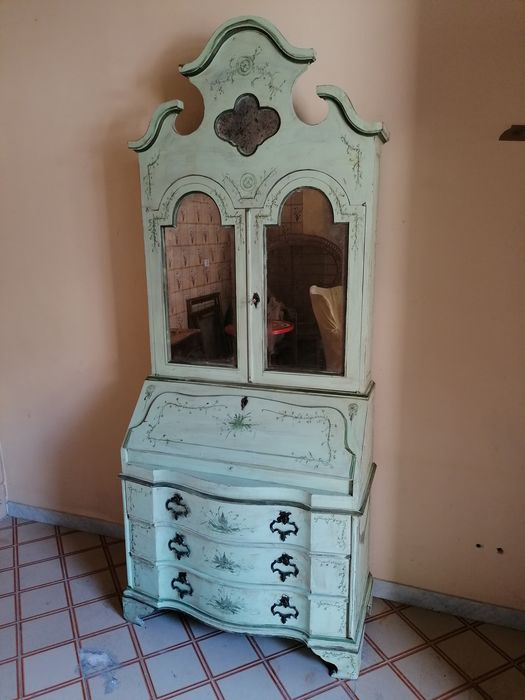 Commode, double body with drawers handles in flap brass and upper showcase with mercury mirrors