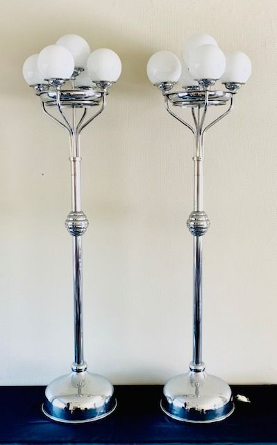 French Art Deco style Chrome Floor lamps (2)