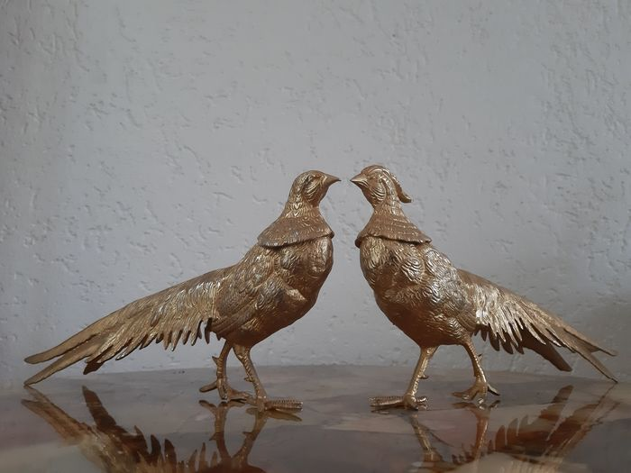 Two very large gilded metal Art Deco pheasant birds - Fireplace piece - Art Nouveau - Metal