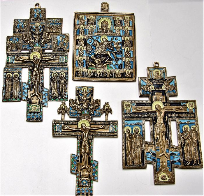 Russian Orthodox travel icons - bronze casting with multicolored enamel (4) - bronze casts