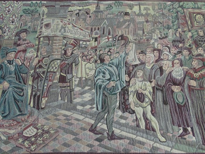Tapestry, City scenery in medieval style