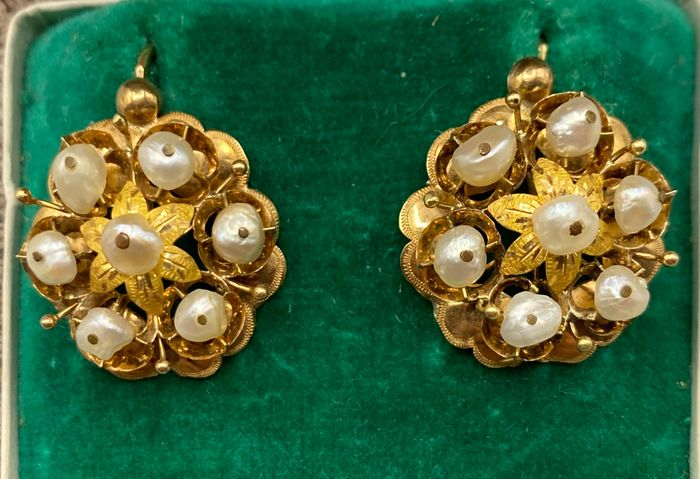 NO RESERVE PRICE - 18 kt. Yellow gold - Earrings Pearl