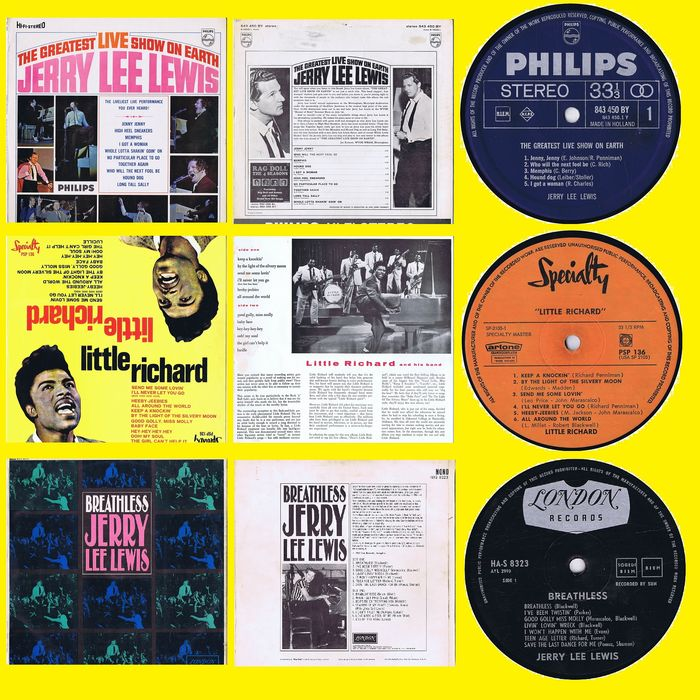 1. Jerry Lee Lewis - The Greatest Live Show On Earth 2. Jerry Lee Lewis - Breathless - 3. Little Richards - Little Richard - Multiple titles - (Lot of 3 original LPs) - 1958/1964