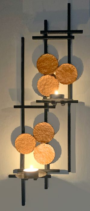 Brutalist wall sculpture sconce candle holder (1)