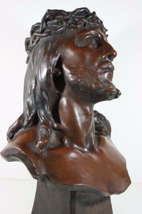 Richard Aurili (1834-1914) - Christ, Sculpture, 54 cm - Clay, Copper - ca. 1900