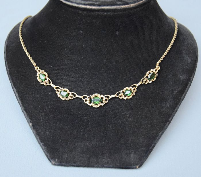 14 kt. Gold - 14 kt yellow gold necklace, antique Art Deco necklace with peridot stones in 585 gold, very fine