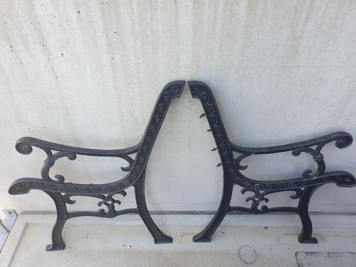 Antique heavy bench supports (2)