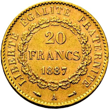 20 Francs 1887-A Genius - Or