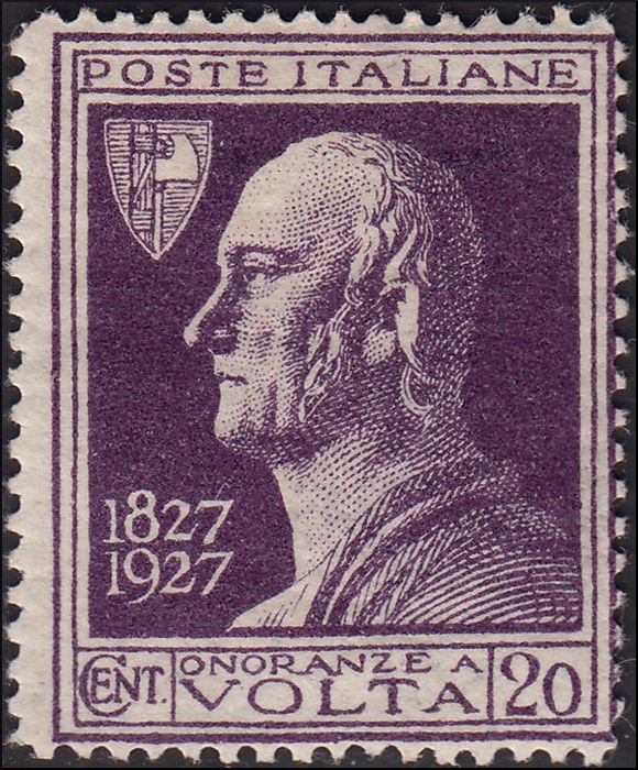 Italien 1927 - Centenary of the death of Alessandro Volta, 20 c. violet without overprint - Sassone n. 210A