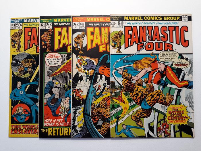 FANTASTIC FOUR  #123 #124 #132 #133 - This world enslaved!; The return of the Monster!; Omega! The ultimate assasin!; The battle of the... - Agrafé - EO - (1972/1973)