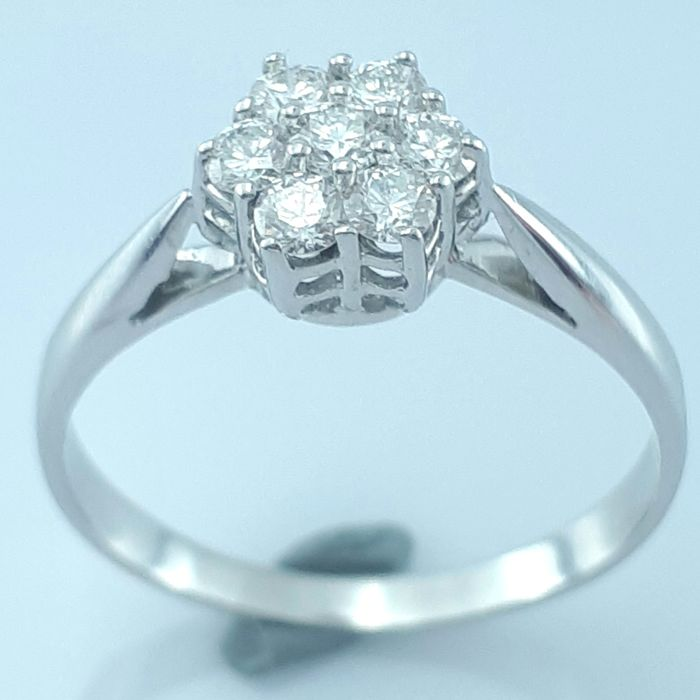 14 kt. White gold - Ring - 0.42 ct Diamond