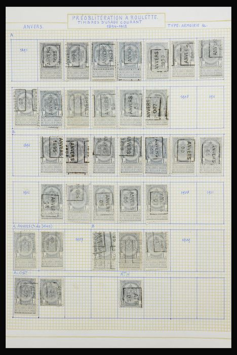 Belgien 1907/1931 - Enormous collection of hand-rolled cancellations, approx. 4,000 stamps - OBP / COB PRE1-...