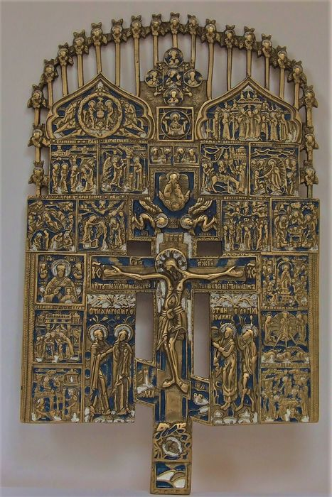 Superb and large Russian Orthodox icon - Crucifix with the Angels - Bronze (gilt/silvered/patinated/cold painted)