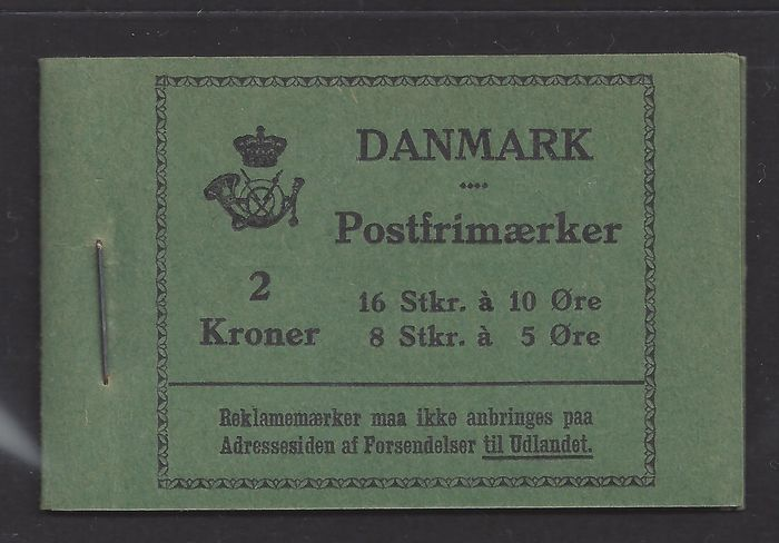 Dänemark 1929 - Stamp booklet, 2 kr. (16x 10 ore and 8x 5 ore) - Michel MH 6 (Facit HRE 6)