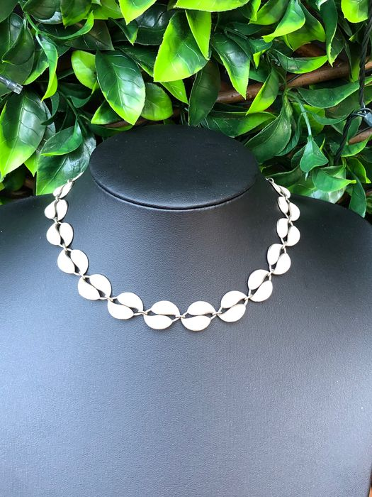 925 Silver - David Anderson Willy Winnæss design Norway enamelled double leaf necklace
