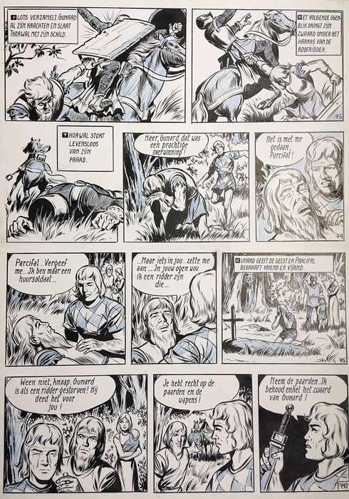 De Rode Ridder 43 - Originele pagina (p.19) - Parcival - Original Art - (1969)