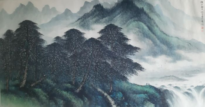 """Ink and color  landscape - Rice paper - 《黎雄才-山水》""""Landscape""""Attributed to Li Xiongcai - China - Second half 20th century"""