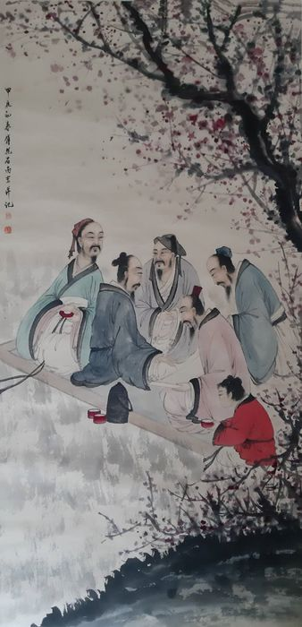 """Ink painting - Rice paper - 《傅抱石-高仕图》""""Scholar""""Made after Fu Baoshi - China - Second half 20th century"""