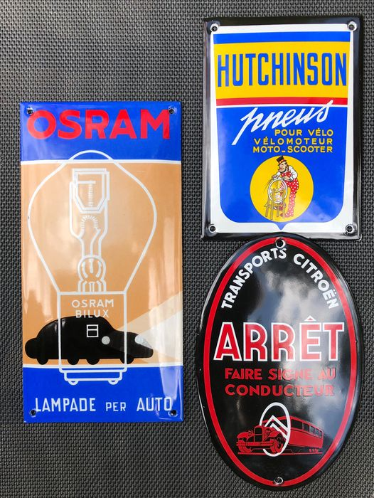 Sign - 3  deurpostjes - OSRAM, CITROEN & HUTCHINSON - 1970-1980