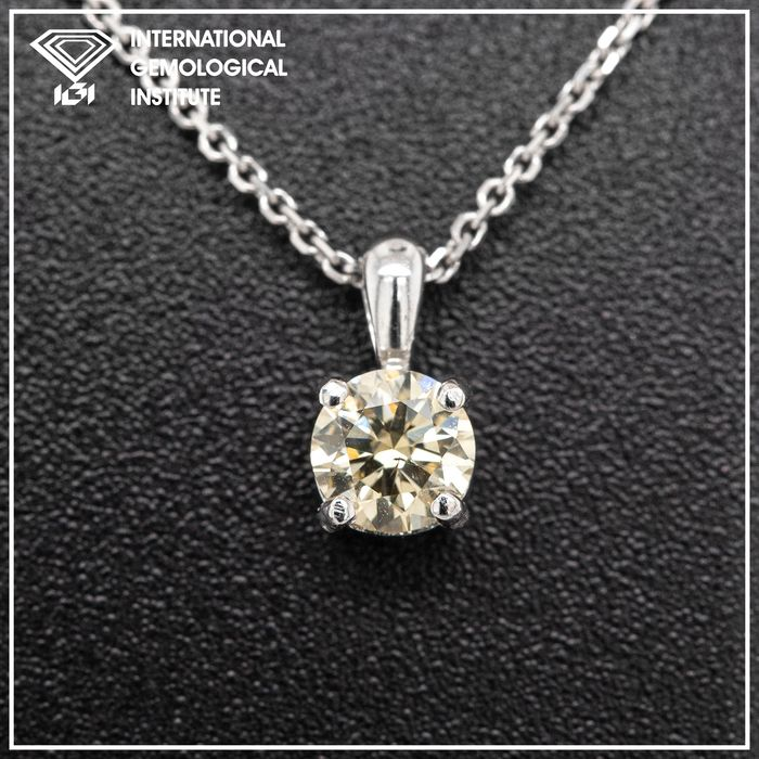14 kt. White gold, 1.39g - Necklace with pendant - 0.30 ct Diamond - No Reserve Price