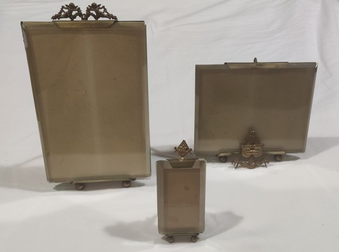 Photo frames (3) - Brass, Glass - Late 19th century