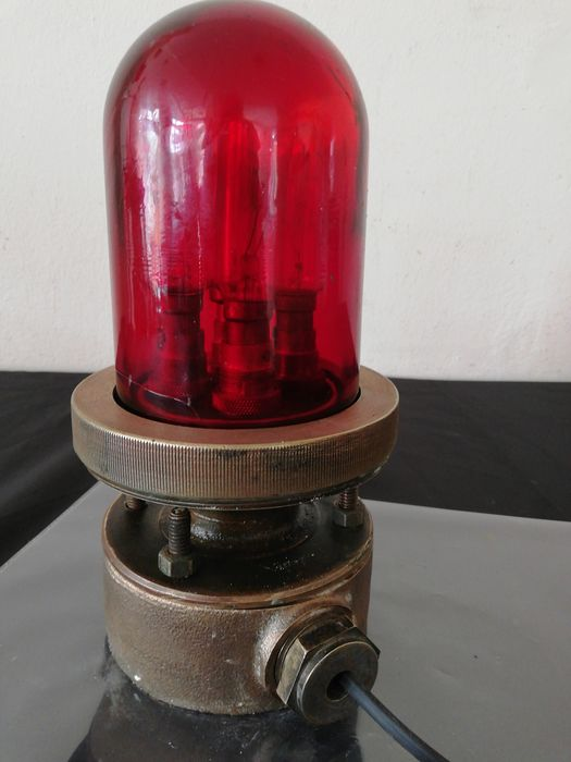 British Royal Navy globe light - Bronze Glass Electrish components  - Early 20th century