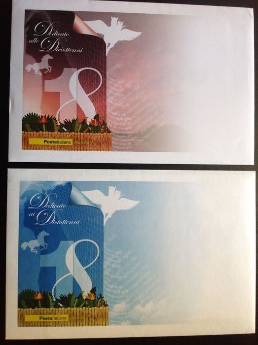 """Italien 2006 - """"DICIOTTENNI"""" SOUVENIR SHEETS the complete pair of everything, catalogue value €1,500 - Sassone 43/44"""